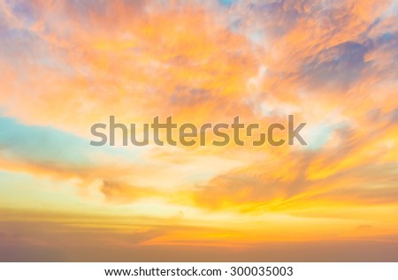 Dramatic sunset and sunrise vivid colorful cloud in sky. - stock photo