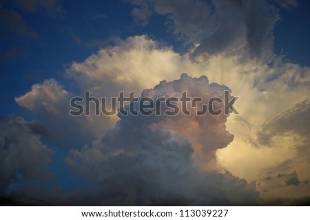 dramatic sunset clouds isolated - stock photo