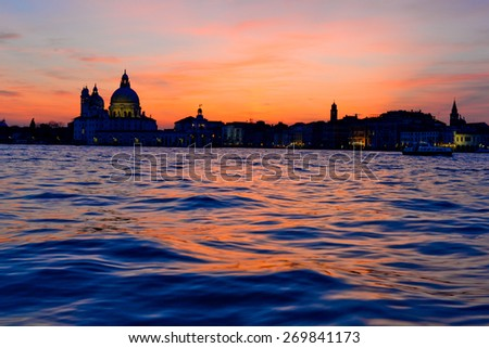 Dramatic sunset in Venice, Italy - stock photo
