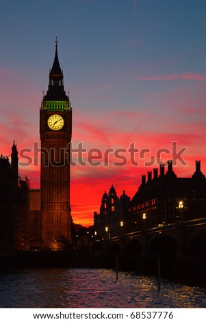 Dramatic sunset over Big Ben clock tower in London, UK. - stock photo