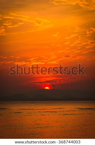 Dramatic sunset over the sea. - stock photo