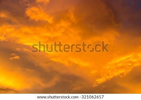 Dramatic sunset sky before storm - stock photo