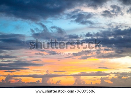 Dramatic sunset sky , Trawangan, Indonesia - stock photo