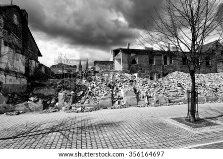 Dramatic View of an old building in the Wloclawek city, Poland. - stock photo