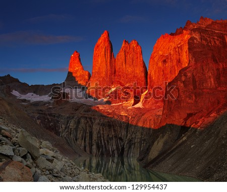 Dramatical sunrise in Torres del Paine national park, Patagonia, Chile - stock photo