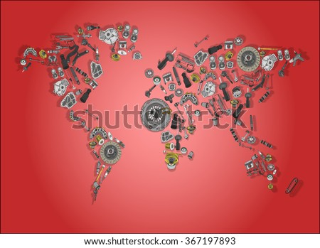 Draw a big map of the world made up of spare parts - stock photo
