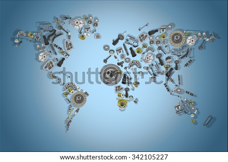 Draw a map of the world made up of spare parts. Spare parts for shop, aftermarket, OEM. Map with spare parts. New spare parts for shop. Many auto spare parts for map. Isolated auto spare parts. Map - stock photo