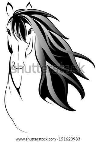 Draw a picture of a horse head - stock photo