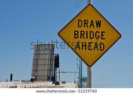 Draw bridge ahead sign. - stock photo