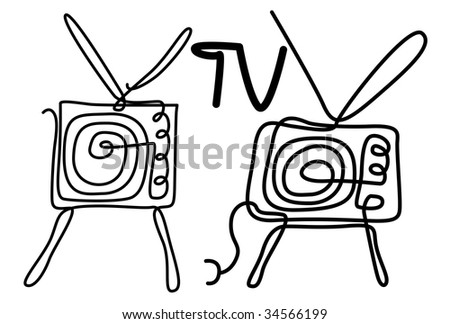 draw illustration of tv from solid line - stock photo