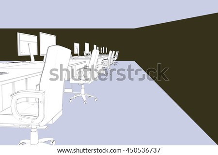 Draw of an open space against pastel blue - stock photo