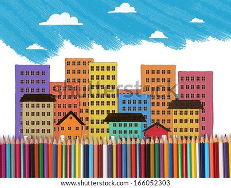 draw with an the house wity colorful pencils  - stock photo