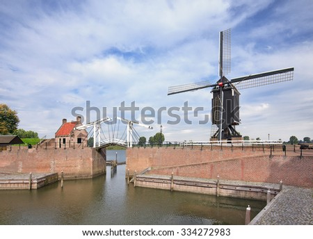 Drawbridge at the port of the famous ancient town of Heusden, Brabant province, The Netherlands.  - stock photo