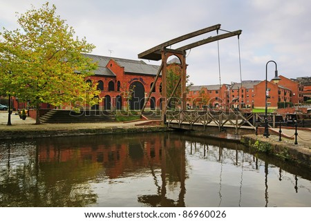 Drawbridge, Bridgewater Canal, Manchester - stock photo