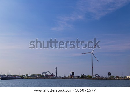 Drawbridges in Port of Antwerp, Belgium - stock photo