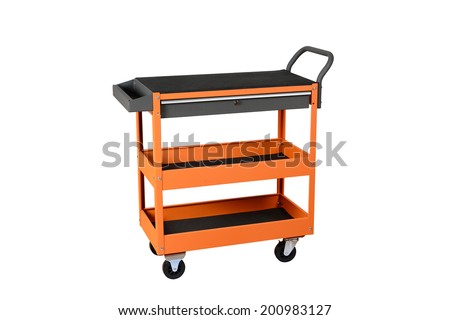Drawer service cart Tool Cabinets on white background  - stock photo