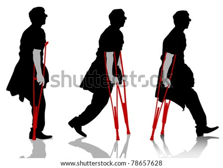 drawing a patient man on crutches - stock photo