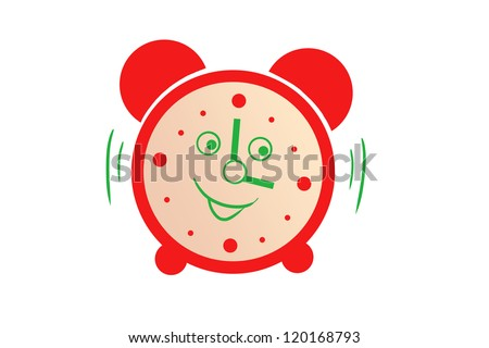 drawing a red alarm. cartoon character. isolated on white background - stock photo