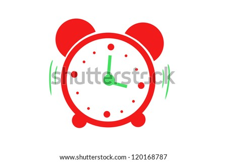 drawing a red alarm. isolated on white background - stock photo