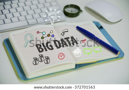 drawing BIG DATA  concept on notebook in the office , business concept , business idea  - stock photo