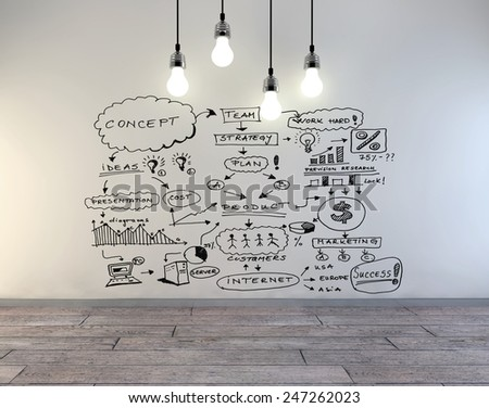 drawing business concept on wall, 3d illustration    - stock photo