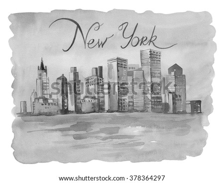 drawing by hand on white paper beautiful New York. Watercolor illustration with Tower and business building, view of the city with high and beautiful river.Greeting card with inscription by hand - stock photo