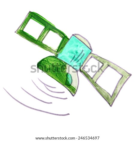 drawing cartoon kids watercolor satellite on a white background - stock photo