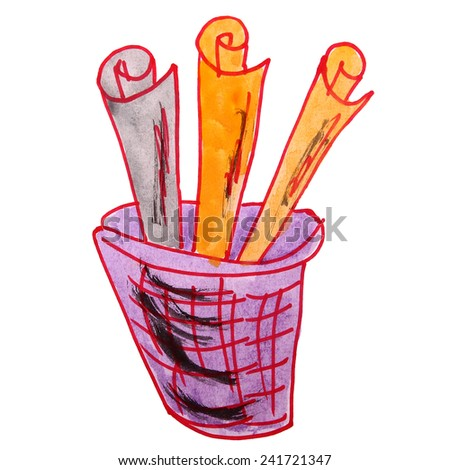 drawing children watercolor basket, trash cartoon on a white background - stock photo