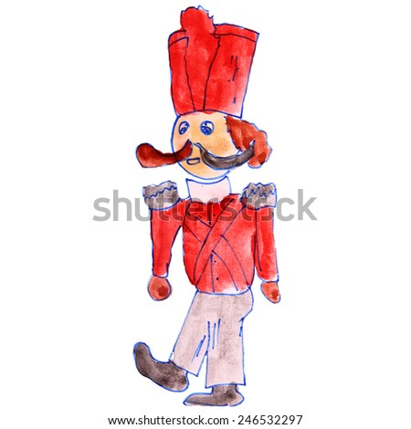 drawing children watercolor soldier, tin cartoon on a white background - stock photo
