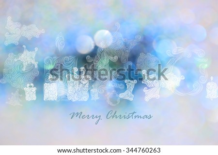 Drawing Christmas tree, star, gift box, fire ball with blue bokeh background for Christmas day - stock photo