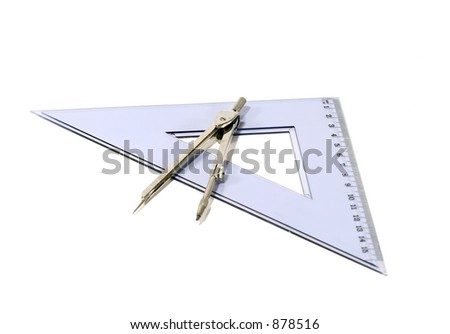 Drawing compass and triangle on white background - stock photo