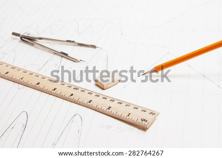 Drawing detail and drawing tools background - stock photo