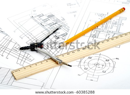 Drawing detail and drawing tools. i am author of this draw - stock photo