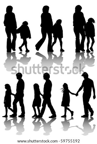 drawing families with a child for a walk. Silhouettes on a white background - stock photo