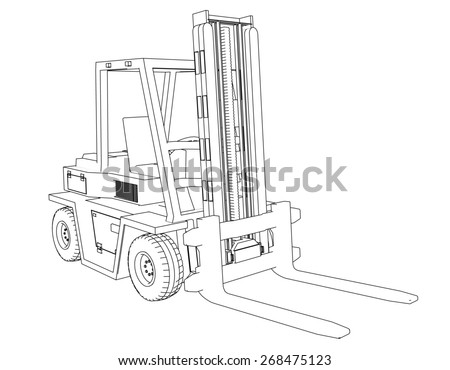 Drawing Forklift on a white background  - stock photo