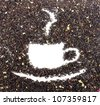 Drawing from the dry tea leaves. The photo on white background - stock photo