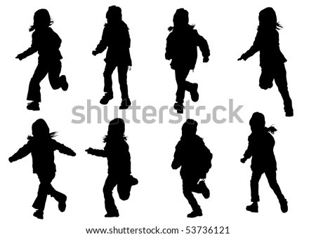 drawing girl in motion. Silhouette on white background - stock photo