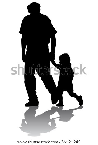 drawing grandfather and granddaughter for a walk. Silhouette on white background - stock photo