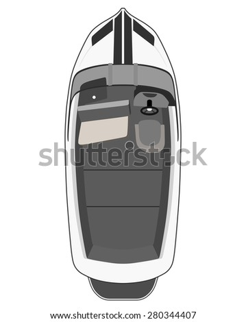 Drawing gray motorboat on a white background - stock photo