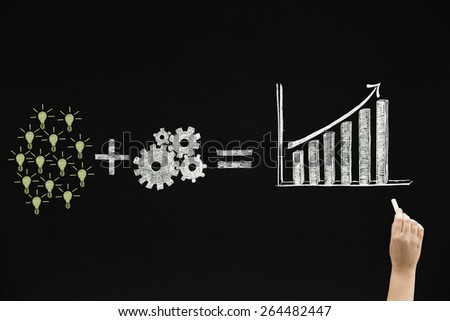Drawing growth concept on blackboard - stock photo