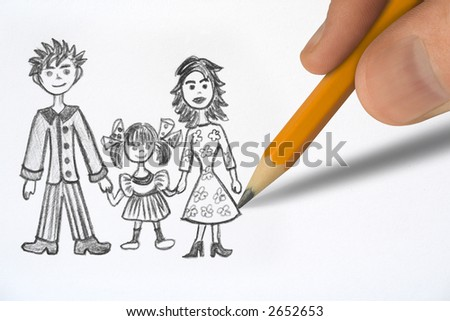 Drawing Happy family, pencil in hand closeup - stock photo