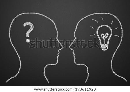 Drawing Human Heads On Blackboard - stock photo