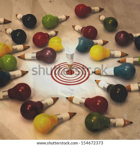 drawing idea pencil and light bulb concept creative and leadership concept on crumpled paper background - stock photo