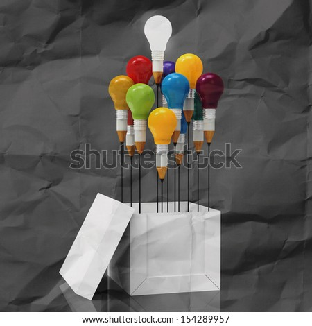 drawing idea pencil and light bulb concept outside the box as creative on crumpled paper - stock photo