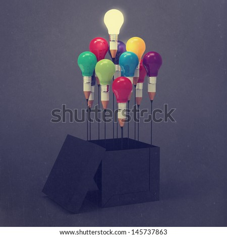 drawing idea pencil and light bulb concept think outside the box as creative and leadership as vintage style concept - stock photo