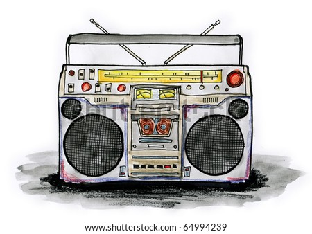 Drawing / illustration of boombox on white background - stock photo