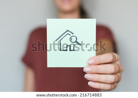 drawing image search home in hand - stock photo