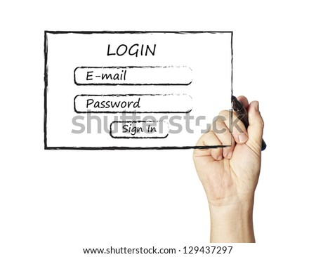 Drawing Log-in form - stock photo