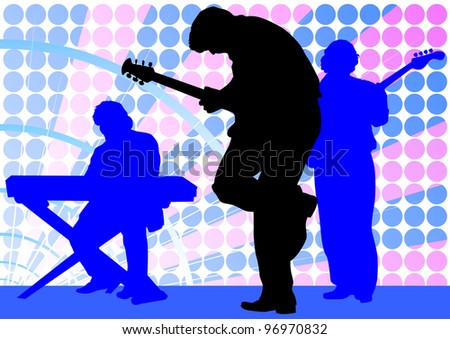 drawing mans with guitar and keyboards - stock photo