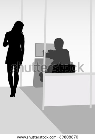 drawing men and women in office - stock photo